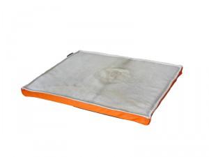 Hundebett Kuhfell weiß beige Leder orange