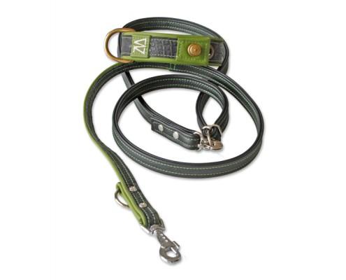 Hundehalsband Leder Kroko schwarz mit Leine