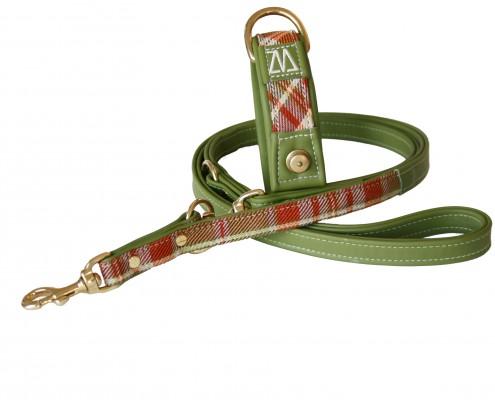 Hundehalsband Leder Stoff grün/orange mit Leine