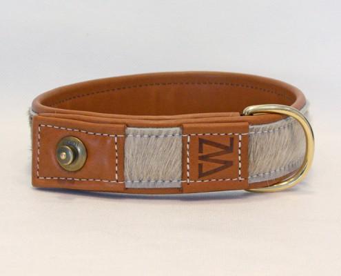 Hundehalsband Leder Kuhfell Cognac Messing