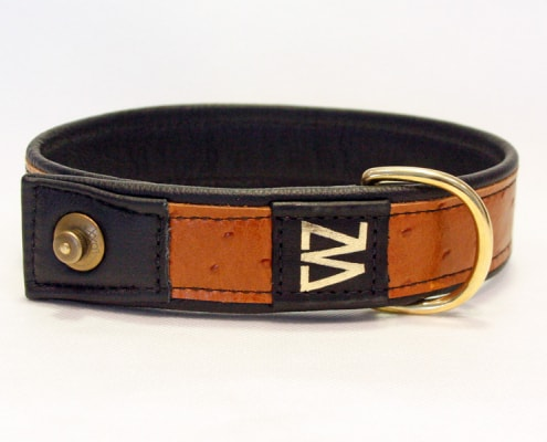 Hundehalsband Leder Kuhfell Cognac Messing
