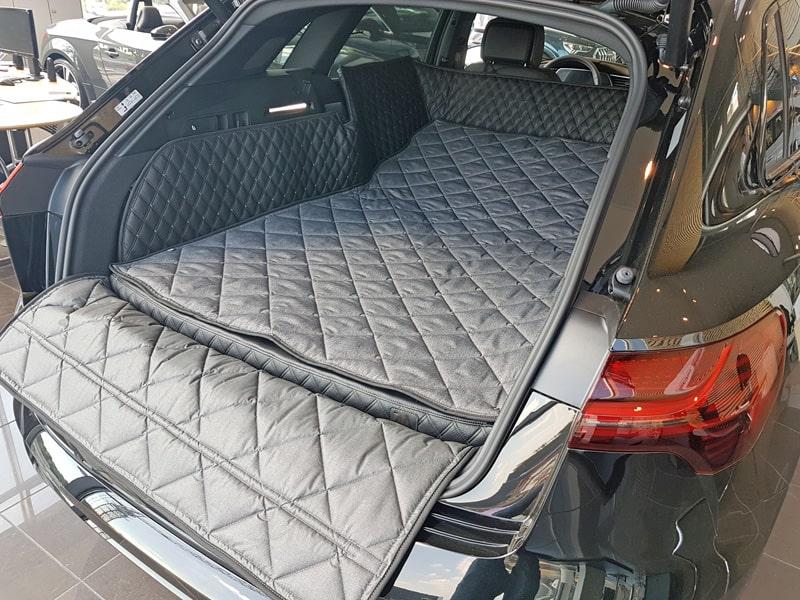 Hundetransport Kofferraum Schondecke DELUXE Audi e-tron 50 55 umgelegte Rückbank Hund